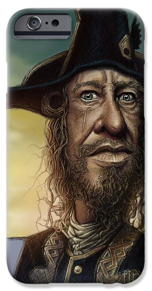 Caricature Digital Art iPhone Cases - Geoffrey Rush iPhone Case by Andre Koekemoer