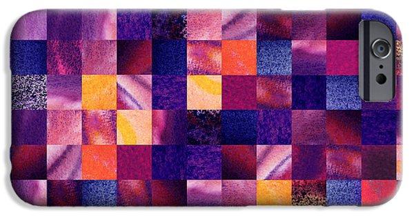 Digital Watercolor Paintings iPhone Cases - Geometric Abstract Design Purple Meadow iPhone Case by Irina Sztukowski