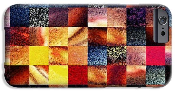 Digital Watercolor Paintings iPhone Cases - Geometric Abstract Design Sunrise Squares iPhone Case by Irina Sztukowski