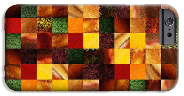 Meadow iPhone Cases - Geometric Abstract Quilted Meadow iPhone Case by Irina Sztukowski