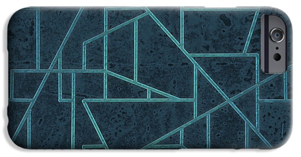 Asymmetrical iPhone Cases - Geometric Abstraction In Blue iPhone Case by David Gordon