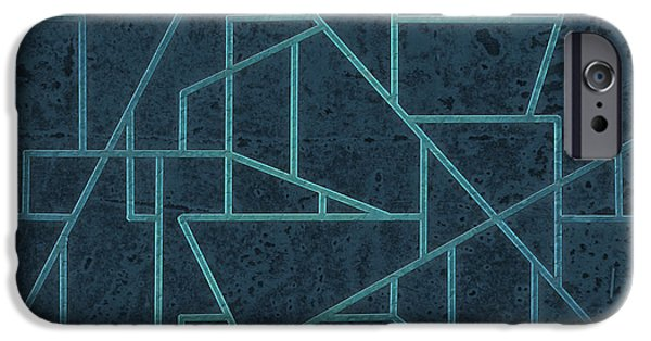 Blue Abstracts iPhone Cases - Geometric Abstraction In Blue iPhone Case by David Gordon