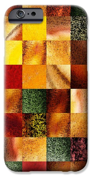 Abstract Digital Paintings iPhone Cases - Geometric Design Squares Pattern Abstract I  iPhone Case by Irina Sztukowski