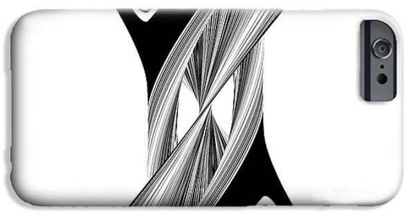Shape Sculptures iPhone Cases - Geometric Twisted Hourglass Black And White Shape  iPhone Case by Nenad  Cerovic