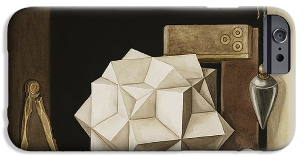 Box iPhone Cases - Geometry, 2004 Wc On Paper iPhone Case by Jenny Barron