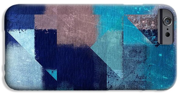 Blue Abstracts iPhone Cases - Geomix 04 -05ac9t28a iPhone Case by Variance Collections