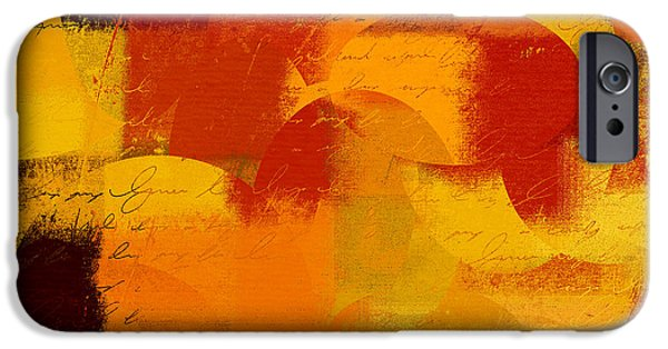 Orange Digital iPhone Cases - Geomix 05 - 01at01b iPhone Case by Variance Collections