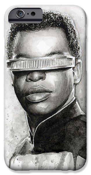 Science Fiction Paintings iPhone Cases - Geordi La Forge - Star Trek Art iPhone Case by Olga Shvartsur