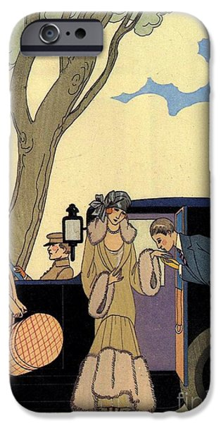 Georges Barbier iPhone Cases - George Barbier. Arrival of a fashionable Lady iPhone Case by Pierpont Bay Archives