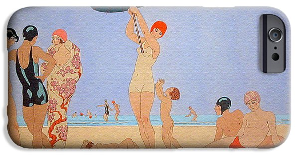 Georges Barbier iPhone Cases - George Barbier Au Lido Beach Bathers iPhone Case by Pierpoint Bay Archives