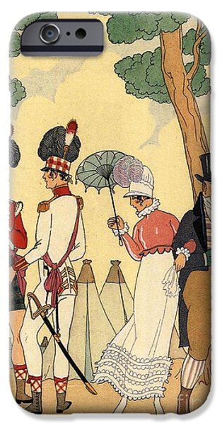 Georges Barbier iPhone Cases - George Barbier. Lady out for a walk with her father. iPhone Case by Pierpont Bay Archives