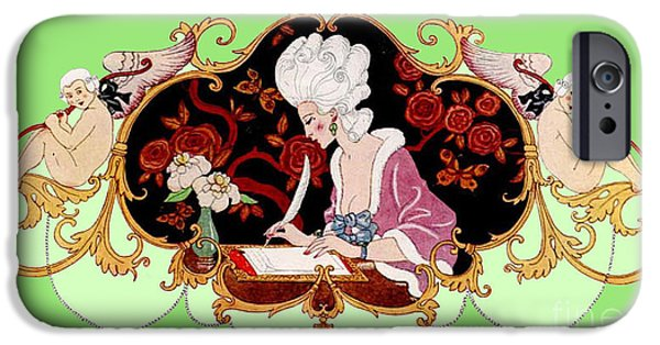 Georges Barbier iPhone Cases - George Barbier. Lady Writing a Letter with Cupid Cherubs. Frontis iPhone Case by Pierpont Bay Archives
