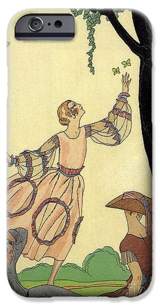Georges Barbier iPhone Cases - George Barbier Papillons 1921 iPhone Case by Pierpont Bay Archives