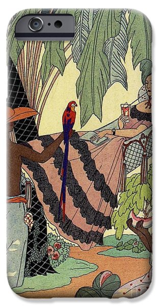 Watermelon Drawings iPhone Cases - George Barbier. Spanish lady in hammoc with parrot.  iPhone Case by Pierpont Bay Archives