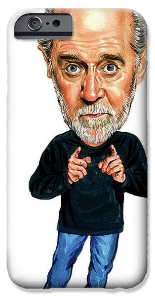 Celebrities Art iPhone Cases - George Carlin iPhone Case by Art