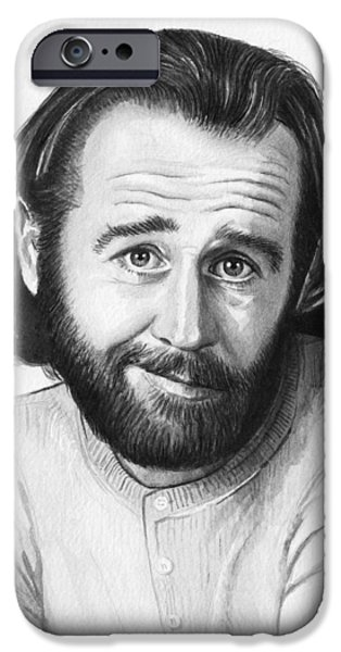 Celebrities Art iPhone Cases - George Carlin Portrait iPhone Case by Olga Shvartsur
