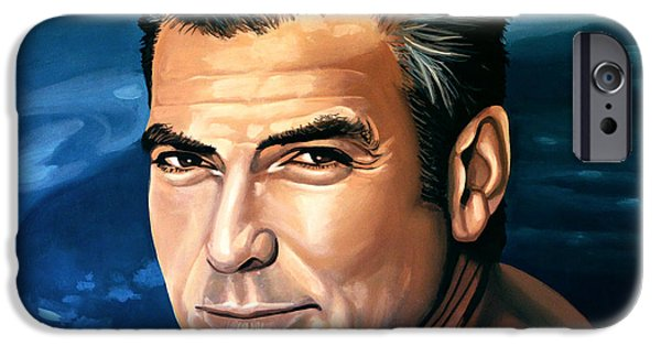 People iPhone Cases - George Clooney 2 iPhone Case by Paul  Meijering