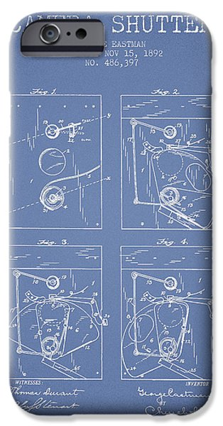 Film Camera iPhone Cases - George Eastman Camera Shutter Patent from 1892 - Light Blue iPhone Case by Aged Pixel