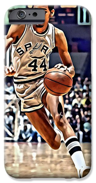 Slam Photographs iPhone Cases - George Gervin iPhone Case by Florian Rodarte