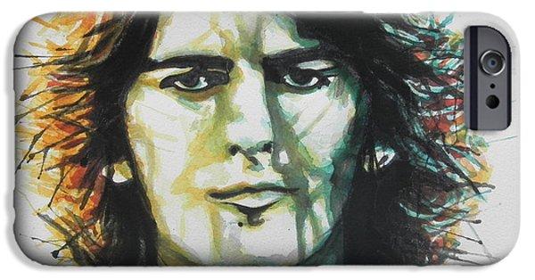 Beatles iPhone Cases - George Harrison 01 iPhone Case by Chrisann Ellis