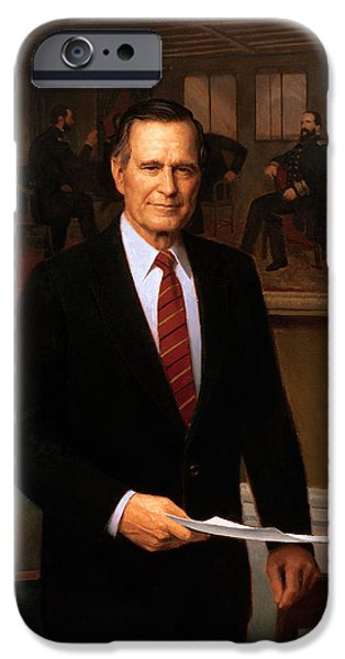 George Bush iPhone Cases - George HW Bush Presidential Portrait iPhone Case by War Is Hell Store