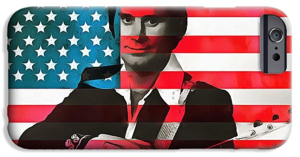 Red White And Blue Mixed Media iPhone Cases - George Jones American Country iPhone Case by Dan Sproul