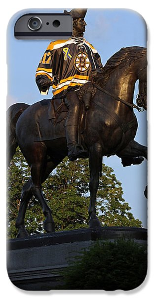 Hockey Scenes iPhone Cases - George Washington a True Boston Bruins Fan iPhone Case by Juergen Roth
