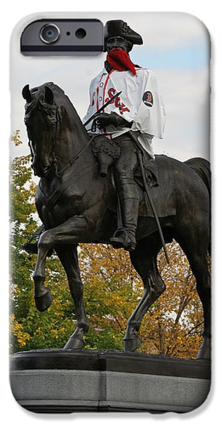 Pleasure iPhone Cases - George Washington a True Boston Red Sox Fan iPhone Case by Juergen Roth