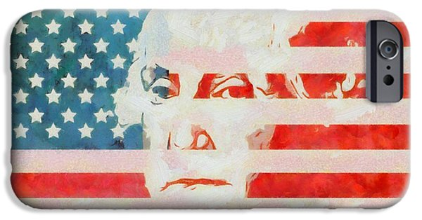 Fourth Of July iPhone Cases - George Washington American Flag iPhone Case by Dan Sproul