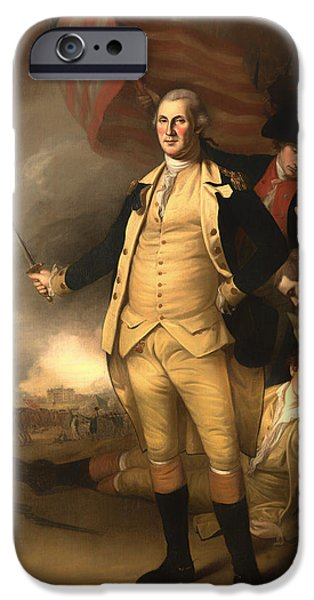 American Revolution iPhone Cases - George Washington at the Battle of Princeton iPhone Case by Charles Peale