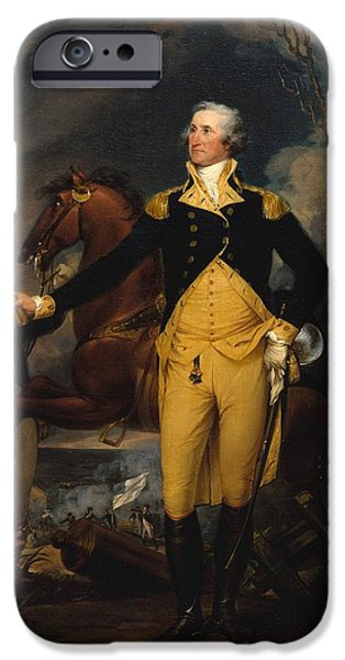 Independence Day Paintings iPhone Cases - George Washington Before the Battle of Trenton iPhone Case by John Trumbull