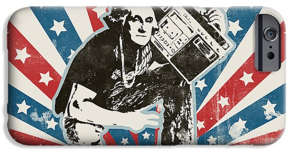 Washington Digital Art iPhone Cases - George Washington - BoomBox iPhone Case by Pixel Chimp