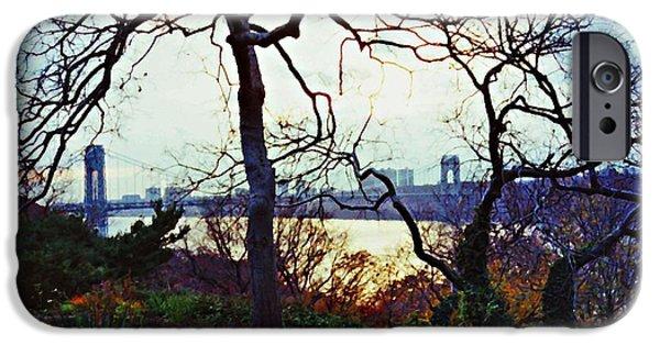 Hudson River iPhone Cases - George Washington Bridge at Sunset iPhone Case by Sarah Loft