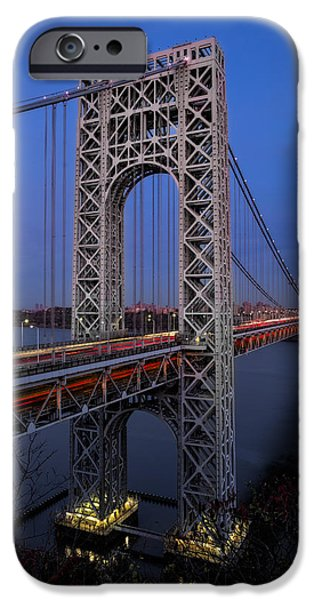 Hudson River iPhone Cases - George Washington Bridge At Twilight iPhone Case by Susan Candelario