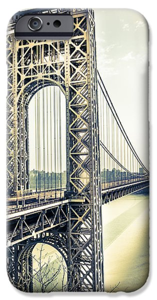 Hudson River iPhone Cases - George Washington Bridge iPhone Case by Elvira Pinkhas