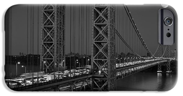 New York City iPhone Cases - George Washington Bridge Moon Rise BW iPhone Case by Susan Candelario