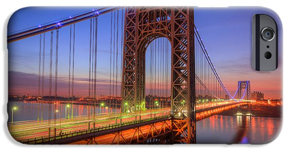 Hudson River iPhone Cases - George Washington Bridge Morning Twilight I iPhone Case by Clarence Holmes
