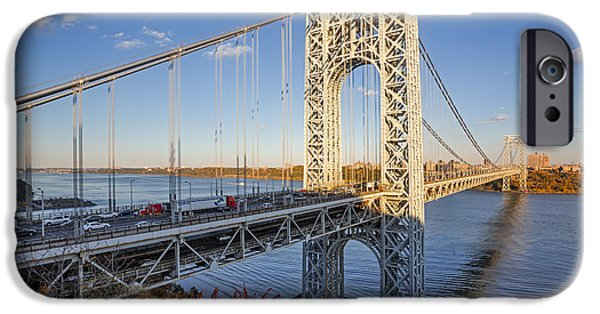 Fall iPhone Cases - George Washington Bridge NYC iPhone Case by Susan Candelario
