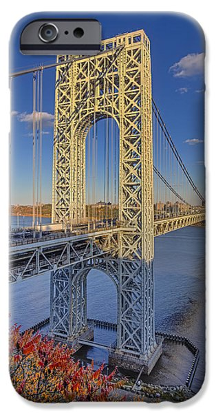 Fall iPhone Cases - George Washington Bridge iPhone Case by Susan Candelario