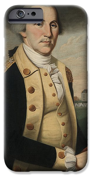 Gray Hair iPhone Cases - George Washington iPhone Case by Charles Peale Polk