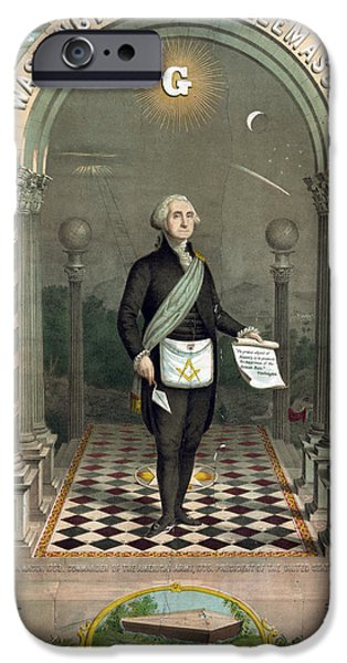 American Revolution Photographs iPhone Cases - George Washington Freemason iPhone Case by Photo Researchers
