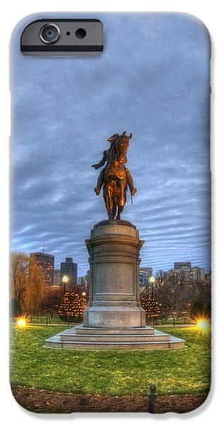 Scenic Boston iPhone Cases - George Washington Statue - Boston iPhone Case by Joann Vitali