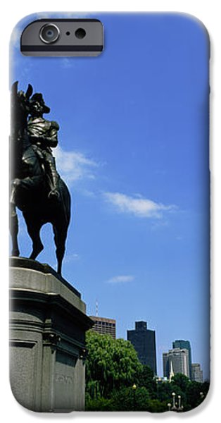 Boston iPhone Cases - George Washington Statue In Boston iPhone Case by Panoramic Images