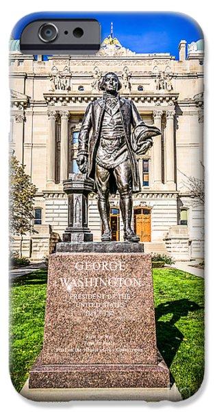 Municipal iPhone Cases - George Washington Statue Indianapolis Indiana Statehouse iPhone Case by Paul Velgos