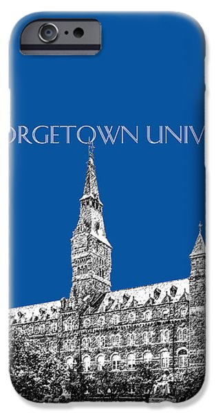 Universities Digital iPhone Cases - Georgetown University - Royal Blue iPhone Case by DB Artist
