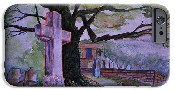 Headstones Paintings iPhone Cases - Georgia Graveyard  iPhone Case by Janet Felts