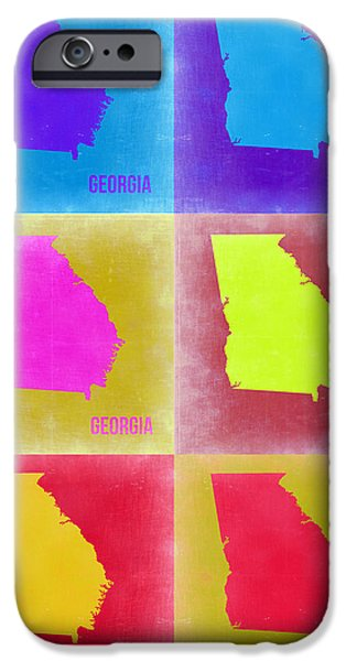 Georgia iPhone Cases - Georgia Pop Art Map 2 iPhone Case by Naxart Studio