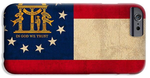 Savannah iPhone Cases - Georgia State Flag Art on Worn Canvas iPhone Case by Design Turnpike