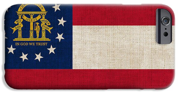 Declaration Of Independence Digital iPhone Cases - Georgia State Flag iPhone Case by Pixel Chimp