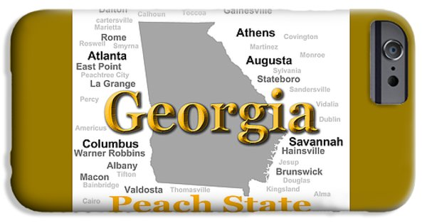 Augusta iPhone Cases - Georgia State Pride Map Silhouette  iPhone Case by Keith Webber Jr